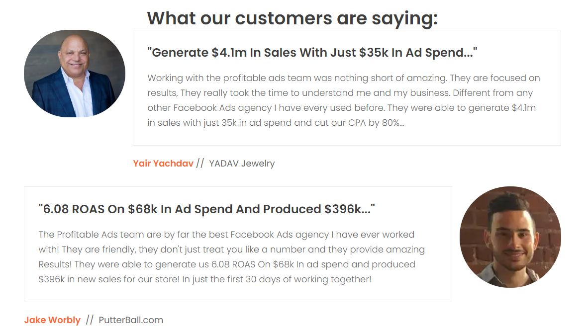 Profitable Ads testimonials