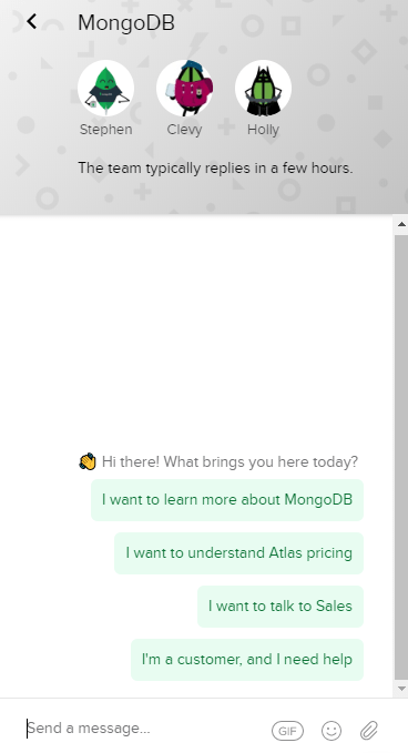 mongDB chatbot options