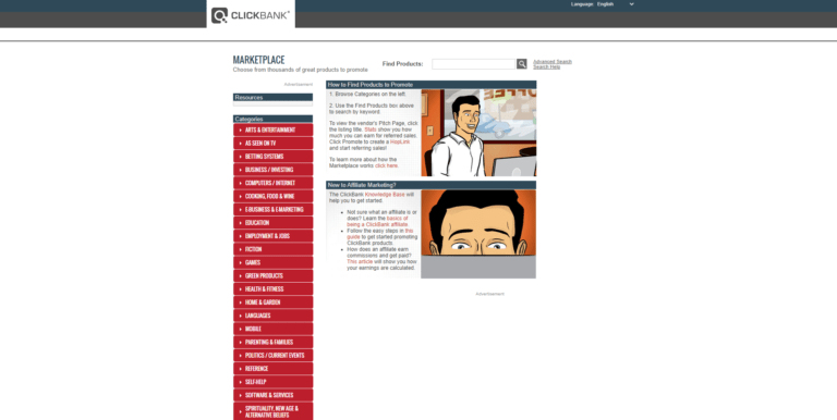 ClickBank home page