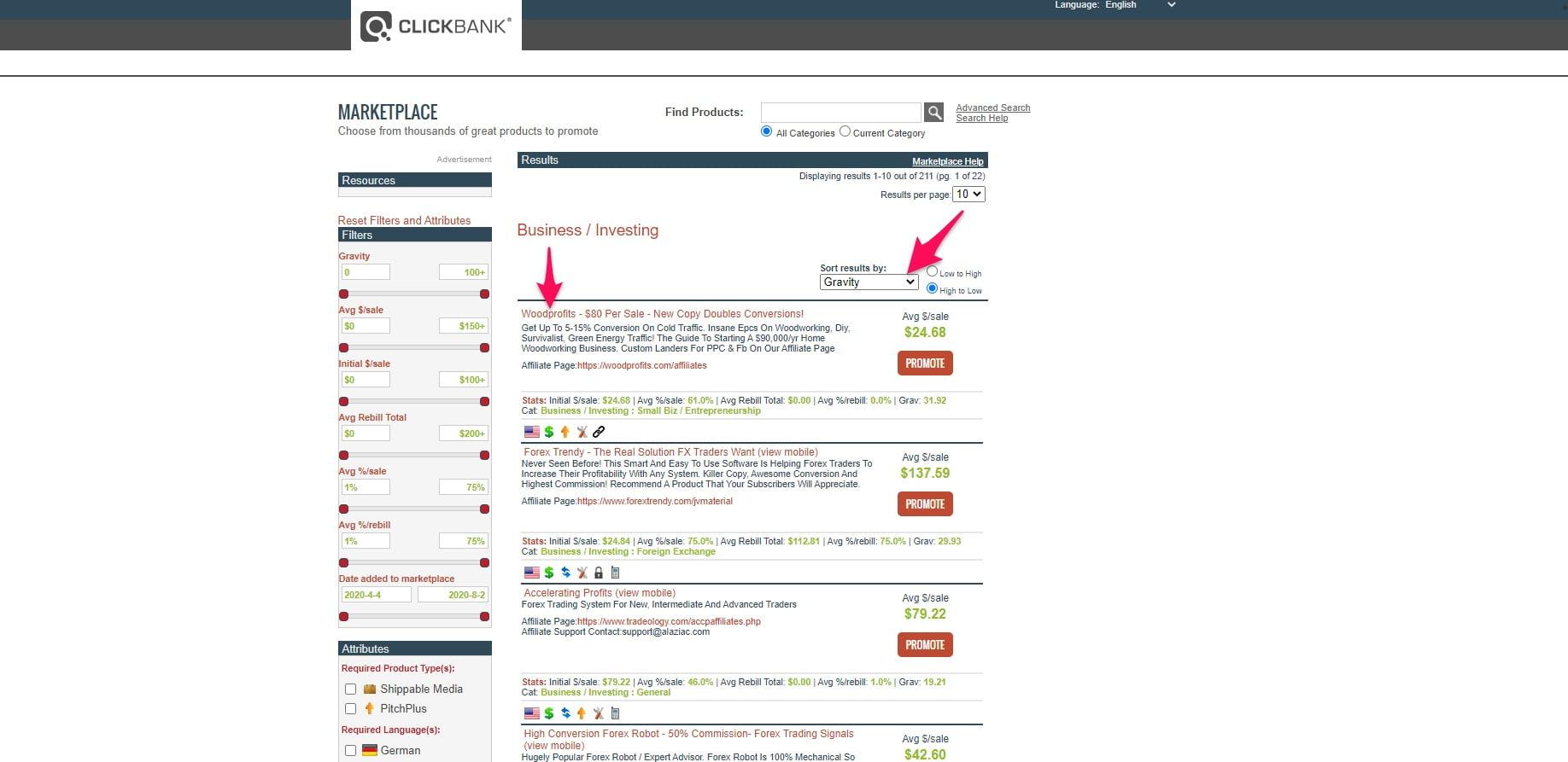 ClickBank market 1