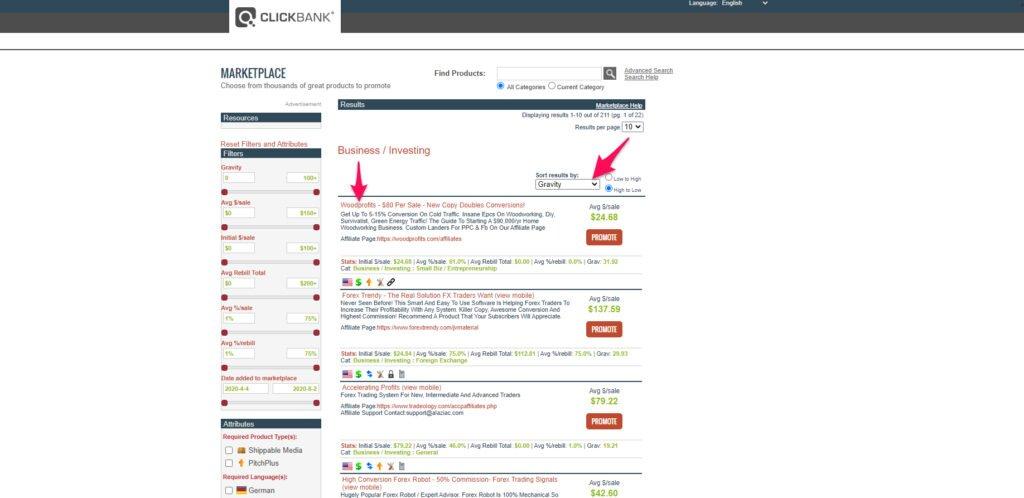 ClickBank market