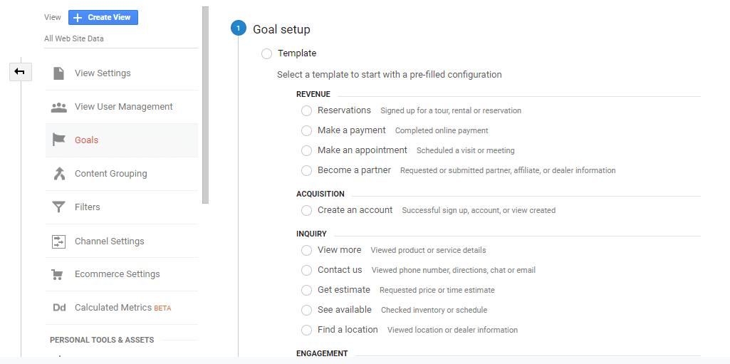 Conversion copywriting goal setup