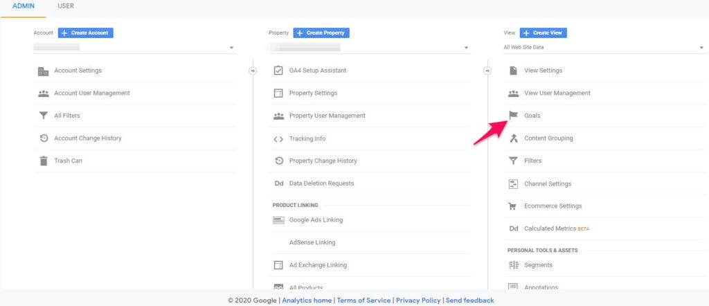 Conversion copywriting goals on Google Analytics