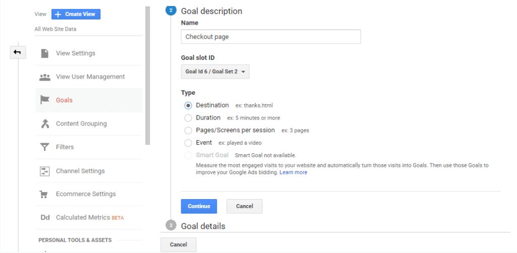 Conversion goal description