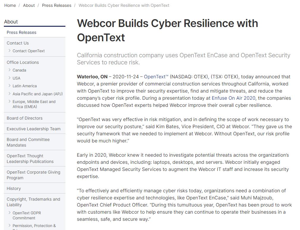 OpenText press release