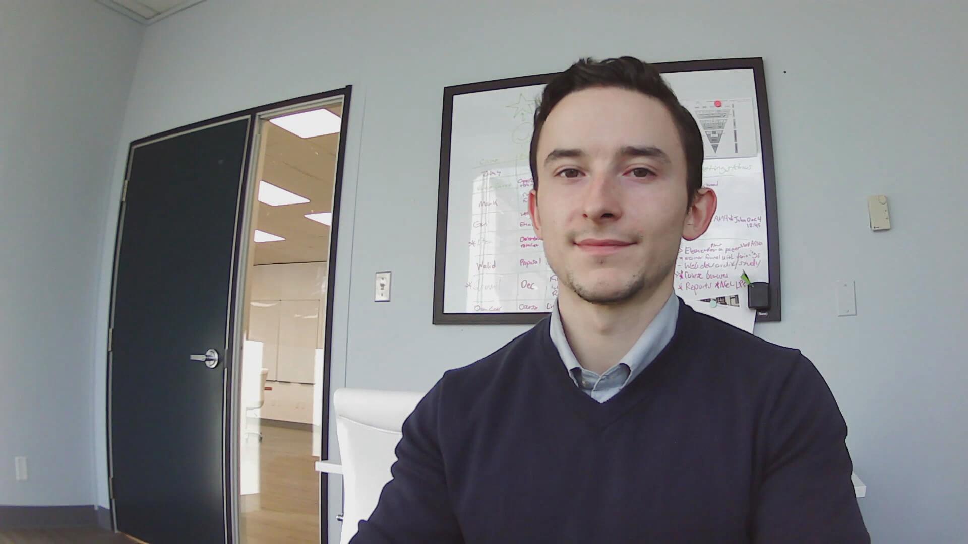 Toronto copywriter in his office