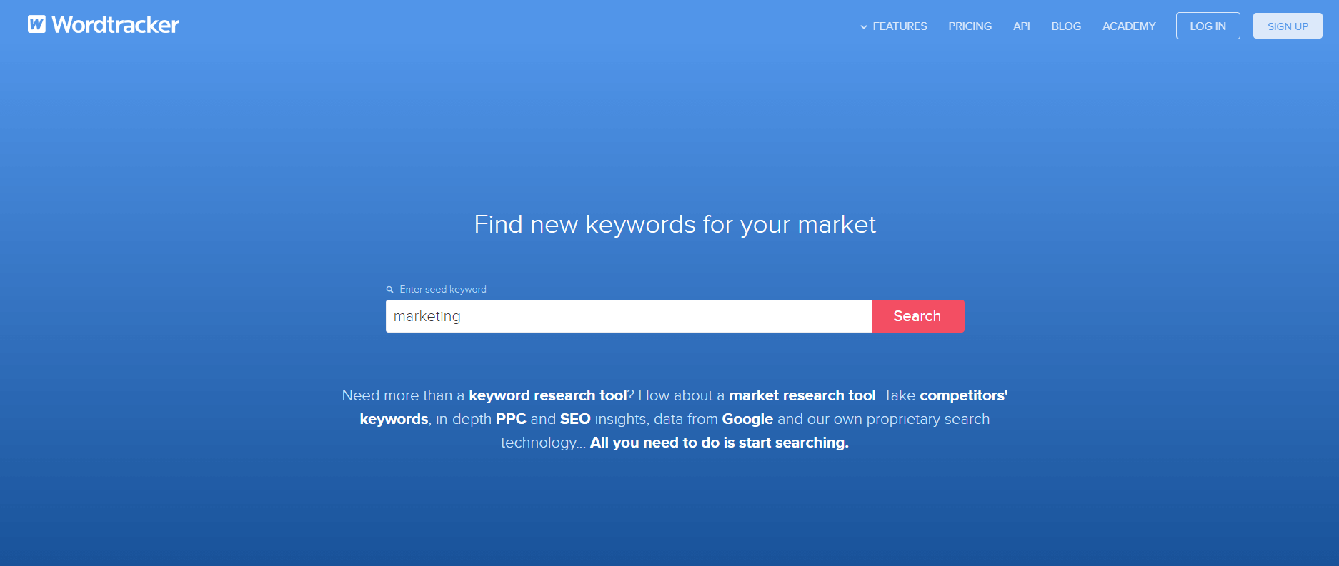 Using Wordtracker to find keywords