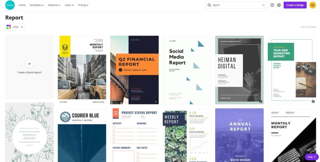 Report designs on Canva