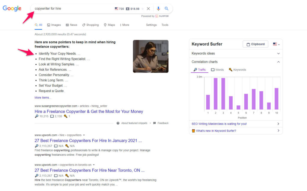 Searching for tone of voice inspiration on Google