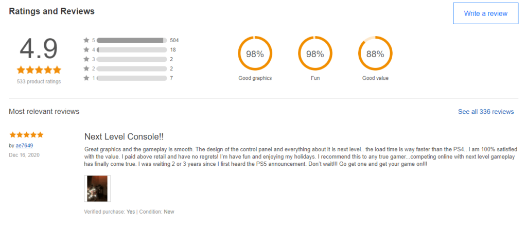 eBay review of PS5