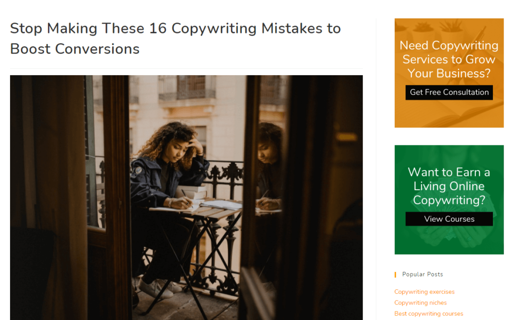Copywriting mistakes headline example