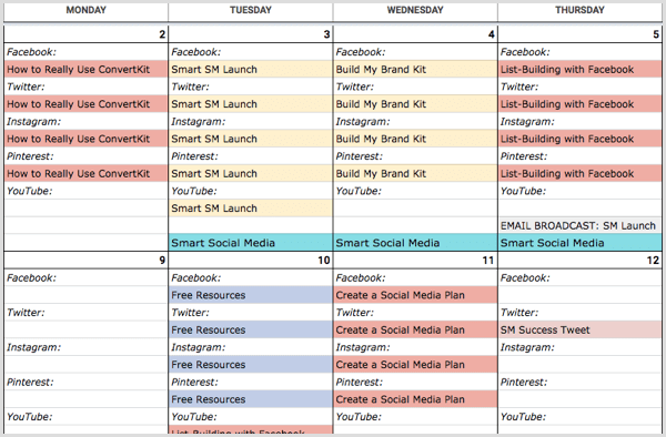 Example of a content calendar