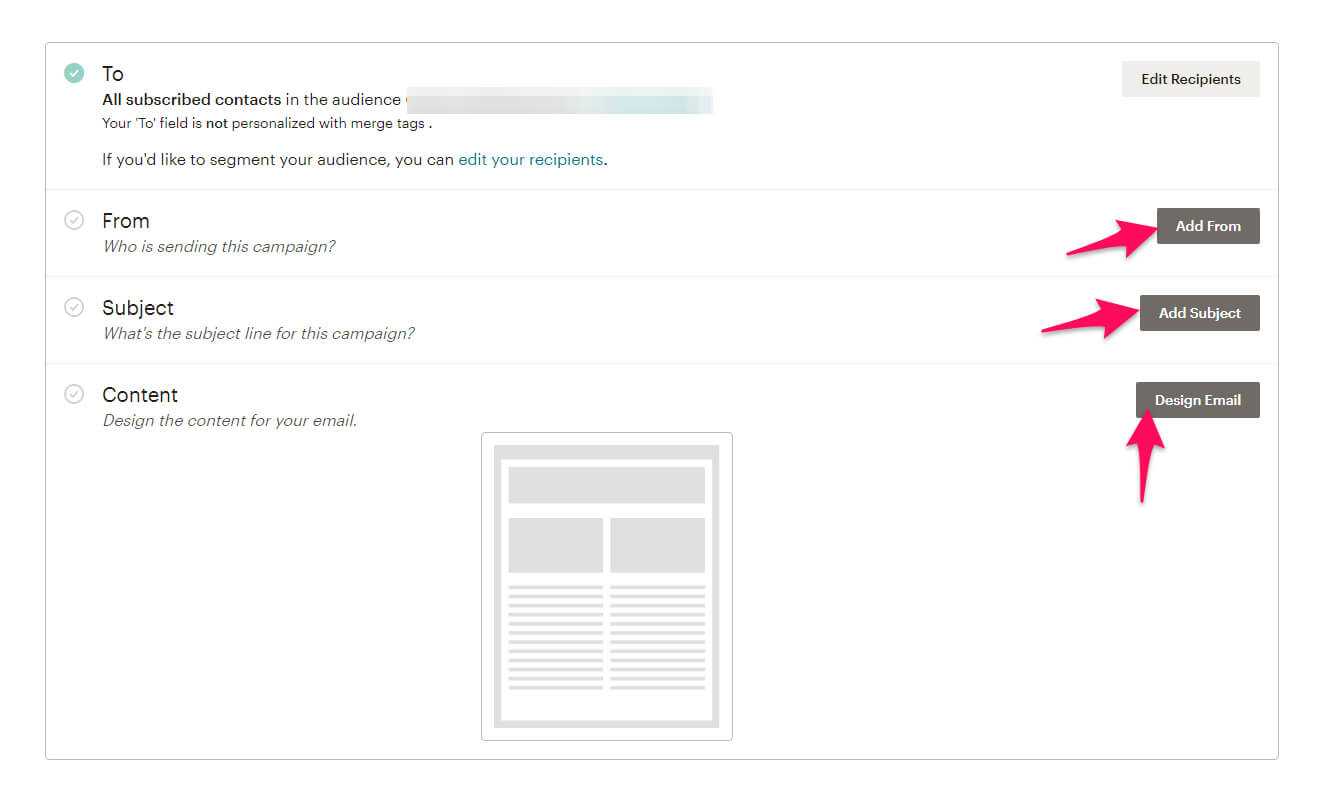 Mailchimp email options